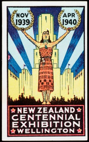 Commemorative sticker, New Zealand Centennial Exhibition, Wellington, November 1939-April 1940, GH004484 (image/tiff)