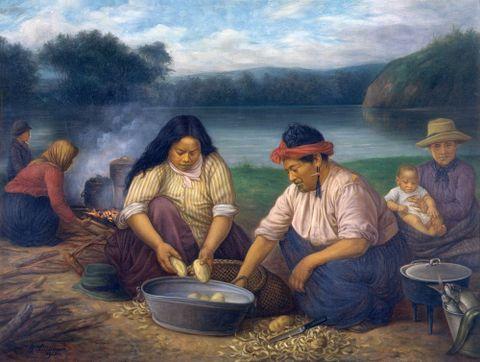 Maori women and children on riverbank