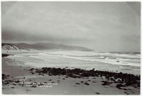 The Ocean Beach, Dunedin, New Zealand, Dunedin, by Muir & Moodie studio. Te Papa (O.001566)