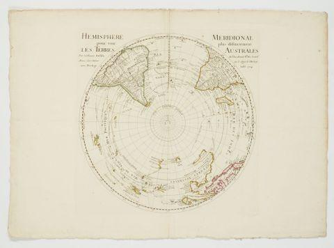 Hemisphere pour voir Les Terres/ Meridional plus distinctement Australes, 1714, France. De L'Isle, Guillaume. Te Papa