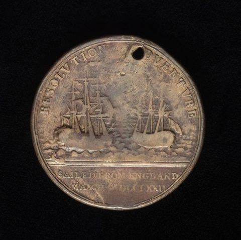 Resolution and Adventure medal from Captain Cook's second voyage