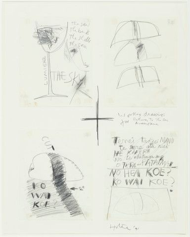 Bill Culbert and Ralph Hotere, Untitled. From the series: Working drawings for Pathway to the sea / Aramoana, pencil on paper. Gift of the artists, 1993. Te Papa (1993-0010-6/A-D to D)