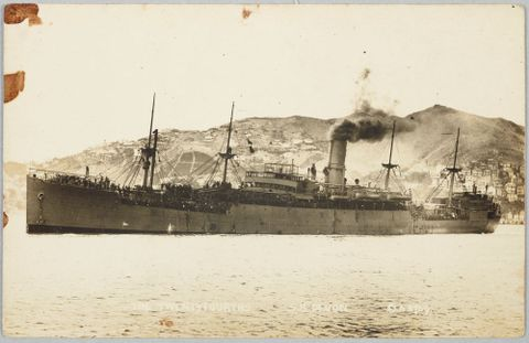 The troopship Devon carrying the 24th Reinforcements, 1917, by David Aldersley, PS.002977. Te Papa.
