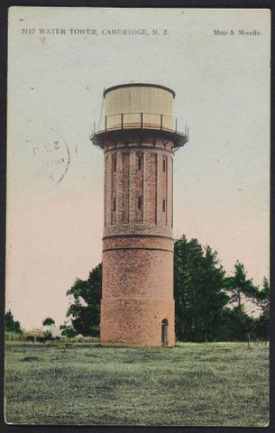 PS.001024; Water Tower, Cambridge, New Zealand; 1909; Muir & Moodie (image/tiff)