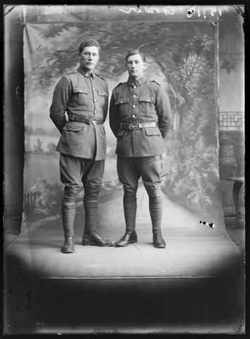 Portrait of Gerald Gower [left] and Alfred Featherstone Gower [right], 1917, Wellington. Berry & Co. Purchased 1998 with New Zealand Lottery Grants Board funds. Te Papa