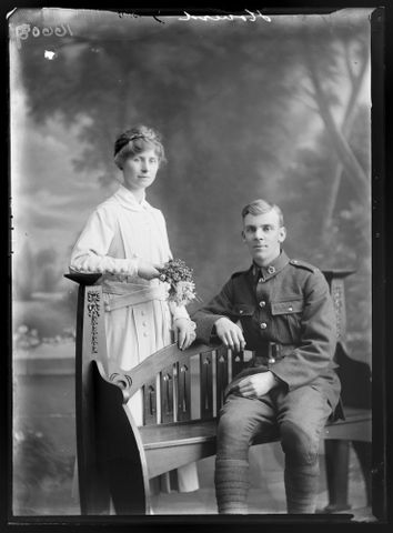Portrait of Private James Arthur Hoverd and his bride Florence Lilian Davies