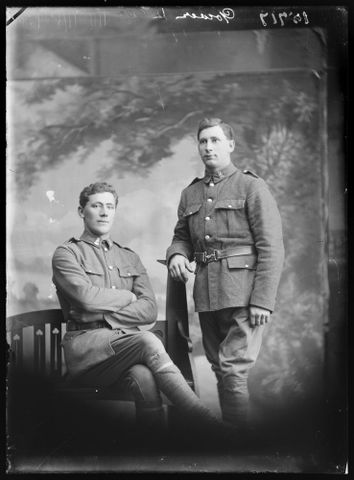 Portrait of Gerald Gower [sitting] and Alfred Featherstone Gower, 1917, Wellington. Berry & Co. Purchased 1998 with New Zealand Lottery Grants Board funds. Te Papa