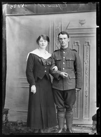 Portrait of an unidentified soldier and an unidentified woman [inscribed Green]