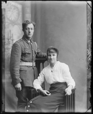 Portrait of an unidentified soldier and an unidentified woman inscribed Bolton, 1914-1919, Wellington. Berry & Co. Purchased 1998 with New Zealand Lottery Grants Board funds. Te Papa