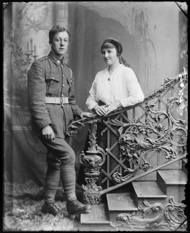 Portrait of an unidentified soldier and an unidentified woman [inscribed Bolton]