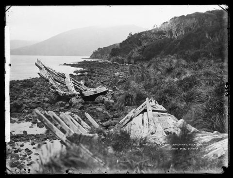 C.010536; Wreck of Grafton, Epigwaitt, Auckland Islands; circa 1888; Dougall, William (image/tiff)