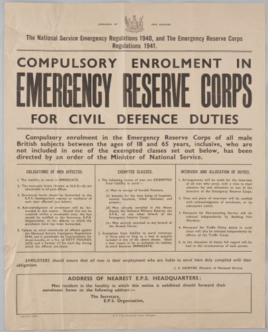 Poster, 'Compulsory Enrolment in Emergency Reserve Corps'