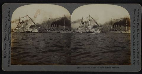 O.005101; Russian Fleet in Port Arthur Harbor; 1904; Keystone View Company (image/tiff)