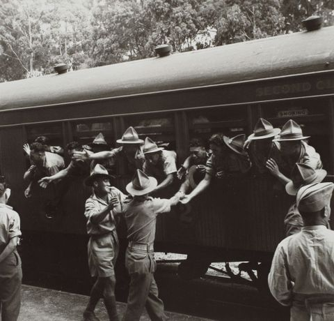 Maori Battalion departure, Rotorua, January 1944.  From the portfolio: PhotoForum - John Pascoe