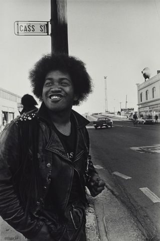 Skippy after confrontation with Mongrel Mob, Colombo Street. From the series: Black Power, Christchurch.
