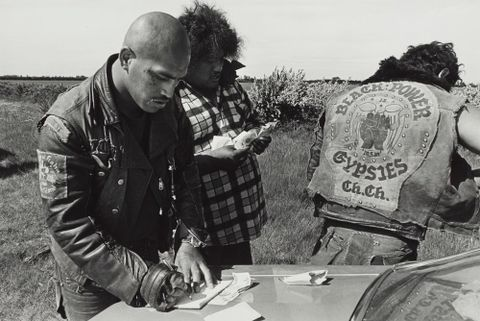 Baldie collecting gang fees, Canterbury Plains. From the series: Black Power, Christchurch.
