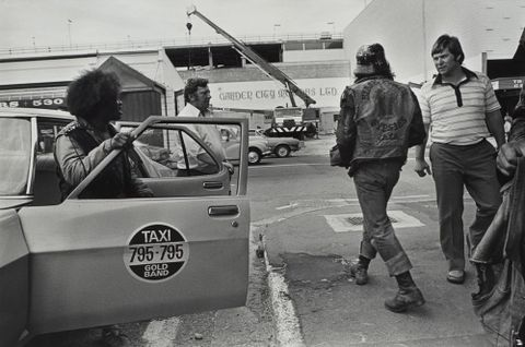 Confrontation with taxi drivers, Colombo Street, Christchurch. From the series: Black Power, Christchurch.