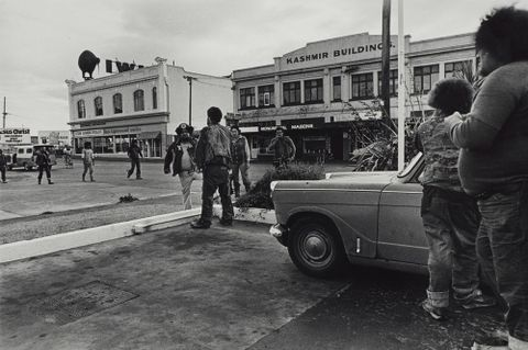 Confrontation with Mongrel Mob, Colombo Street, Christchurch. From the series: Black Power, Christchurch.