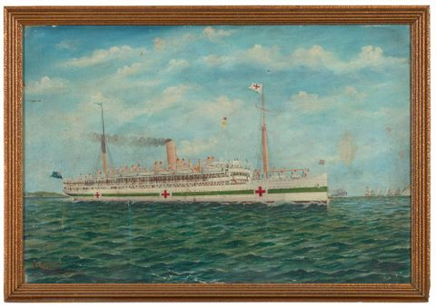 Marama, NZ hospital ship off the Needles, Isle of Wight, English Channel, 1918, by Frank Barnes. Gift of C J Gollins, date unknown. Te Papa (1992-0035-1933)