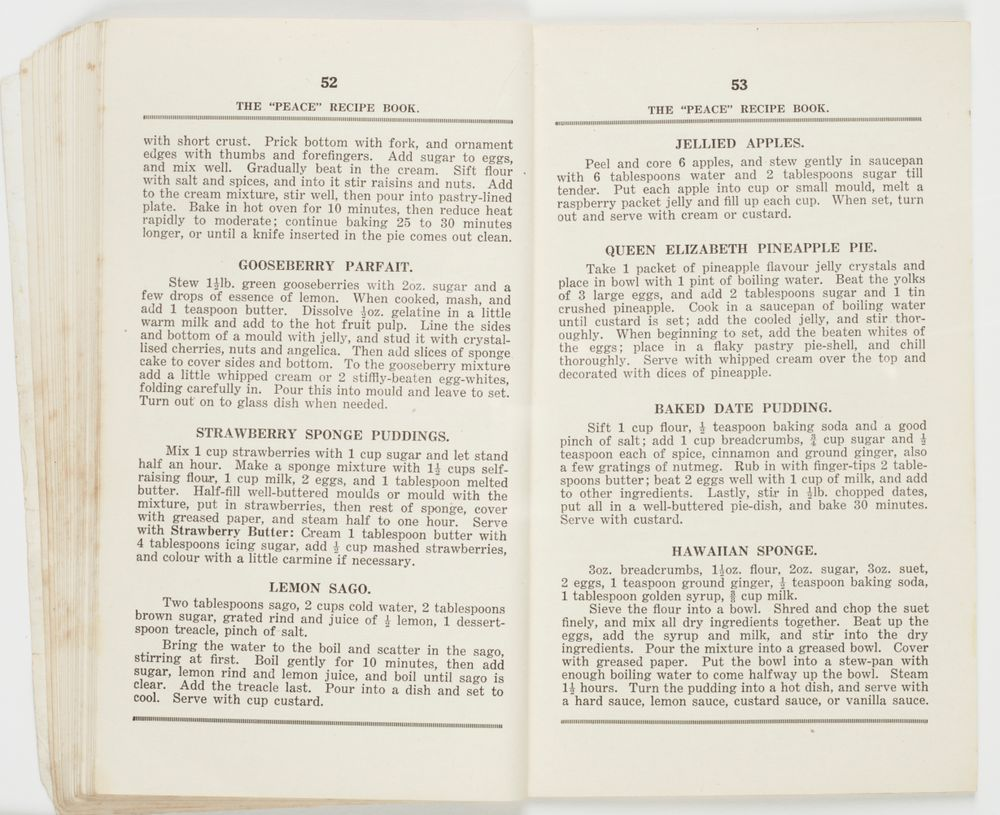 the peace recipe book collections online museum of new zealand