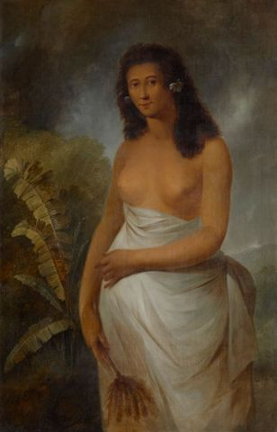 Portrait of an indigenous woman of the South Pacific presented to a European audience