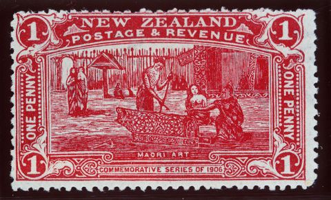 Issued one penny 'Maori Art' Christchurch Exhibition stamp in claret