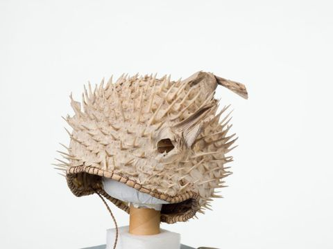FE010482; Puffer fish helmet; 1900s; Kiribati; Unknown ; 3/4 view 3qv (image/tiff)
