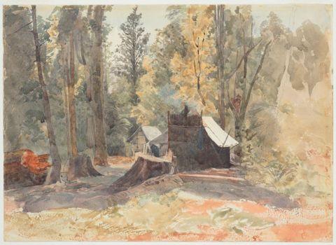Watercolour scene depicting Kauri Gum digger's lodgings