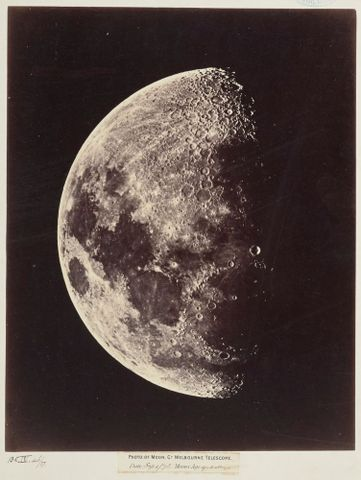 Photograph of moon, Great Melbourne Telescope, 1 September 1873, moon's age 9.0 days