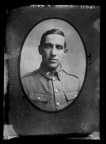 Copy of a portrait of an unidentified soldier inscribed Purves 1 12x10, 1916- 1920, Wellington. Berry & Co. Purchased 1998 with New Zealand Lottery Grants Board funds. Te Papa
