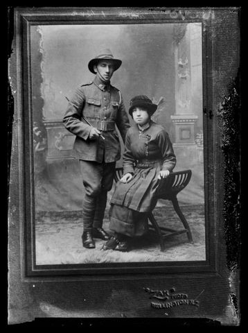 Copy of a portrait of an unidentified soldier and unidentified woman inscribed Purvis, Wellington. Berry & Co, ZAK (Zachariah, Joseph) Purchased 1998 with New Zealand Lottery Grants Board funds. Te Papa