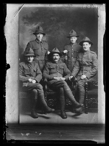 Copy of a portrait of five unidentified soldiers inscribed Sturmer 6, 1916-1920, Wellington. Berry & Co. Purchased 1998 with New Zealand Lottery Grants Board funds. Te Papa