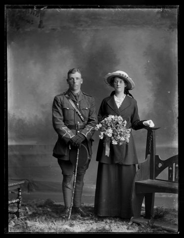 Portrait of Edmund Colin Nigel Robinson and his bride Mary Read