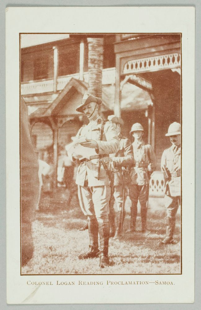 Postcard, 'Colonel Logan Reading Proclamation - Samoa' - Museum of New Zealand Te Papa Tongarewa