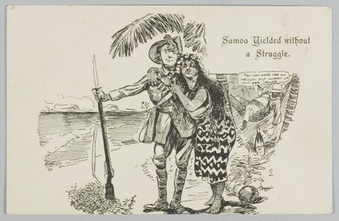 Postcard, 'Samoa Yielded without a Struggle.', 1914, New Zealand. The New Zealand Observer, Blomfield, William. Purchased 2011. Te Papa