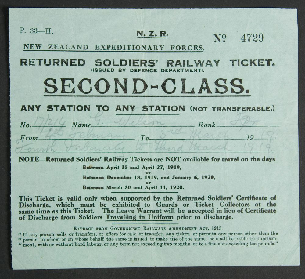 Returned Soldier's Railway Ticket | Collections Online - Museum of