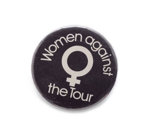 GH012534; Badge, 'Women against the Tour'; 1981; Unknown (image/tiff)