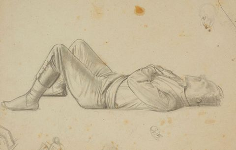 Untitled (study of reclining man) - preparatory drawing for ' The marriage at Cana' .