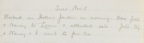George Leslie Adkin diary entry Tuesday 5th November, 1918