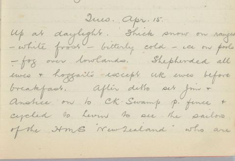 George Leslie Adkin diary entry Tuesday 15 April 1913
