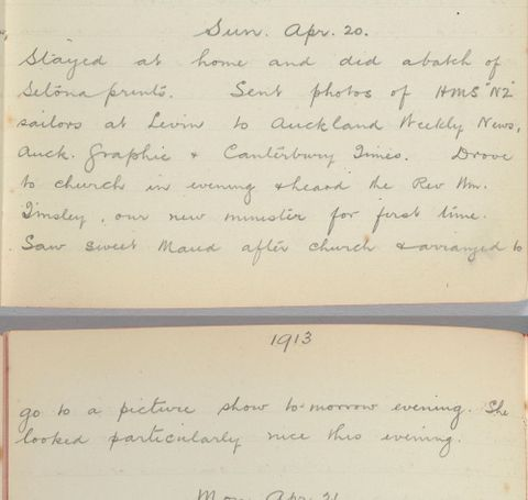 George Leslie Adkin diary entry Sunday 20 April 1913