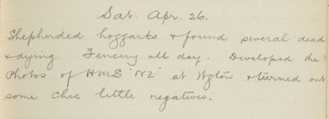 George Leslie Adkin diary entry Saturday 26 April 1913