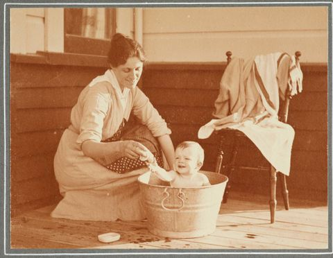"""The order of the bath"": 'At ""Woodside"", Nov. 24. 1917'. From the album: Family photograph album; 1917 - 1920; Adkin, Leslie"