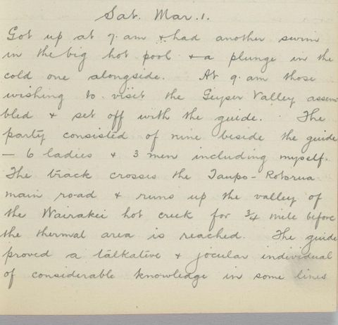 George Leslie Adkin diary entry Saturday 1 March 1913