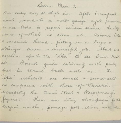 George Leslie Adkin diary entry Sunday 2 March 1913