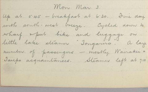 George Leslie Adkin diary entry Monday 3 March 1913