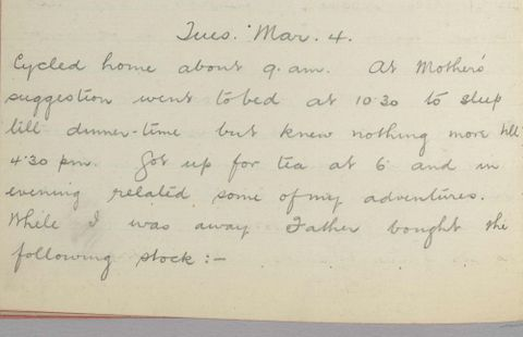 George Leslie Adkin diary entry Tuesday 4 March 1913