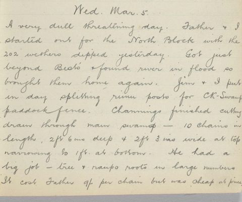 George Leslie Adkin diary entry Wednesday 5 March 1913