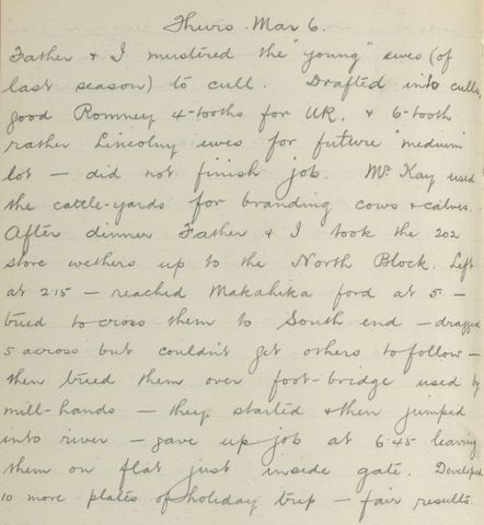 George Leslie Adkin diary entry Thursday 6 March 1913