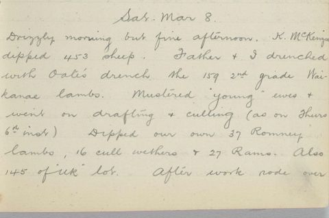 George Leslie Adkin diary entry Saturday 8 March 1913